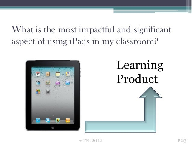 What is the most impactful and significantaspect of using iPads in my classroom?                                Learning  ...