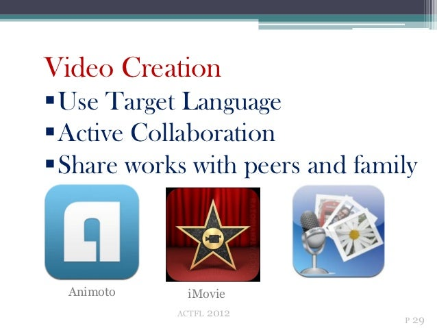 Video CreationUse Target LanguageActive CollaborationShare works with peers and family  Animoto     iMovie            A...