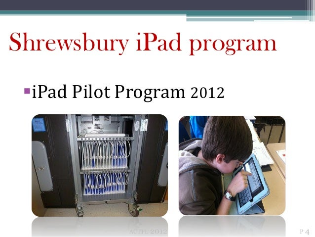 Shrewsbury iPad program iPad Pilot Program 2012             ACTFL   2012   P4
