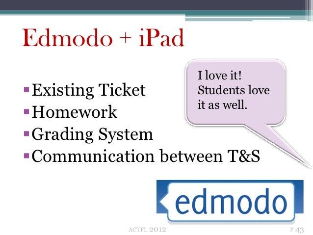 Edmodo + iPad                          I love it!Existing Ticket          Students love                          it as we...