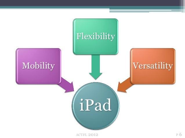 FlexibilityMobility                  Versatility            iPad           ACTFL   2012                 P6