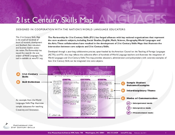 ACTFL World Language St Century Skills Map - P21 world languages skills map