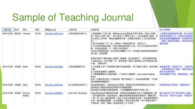 Sample of Teaching Journal