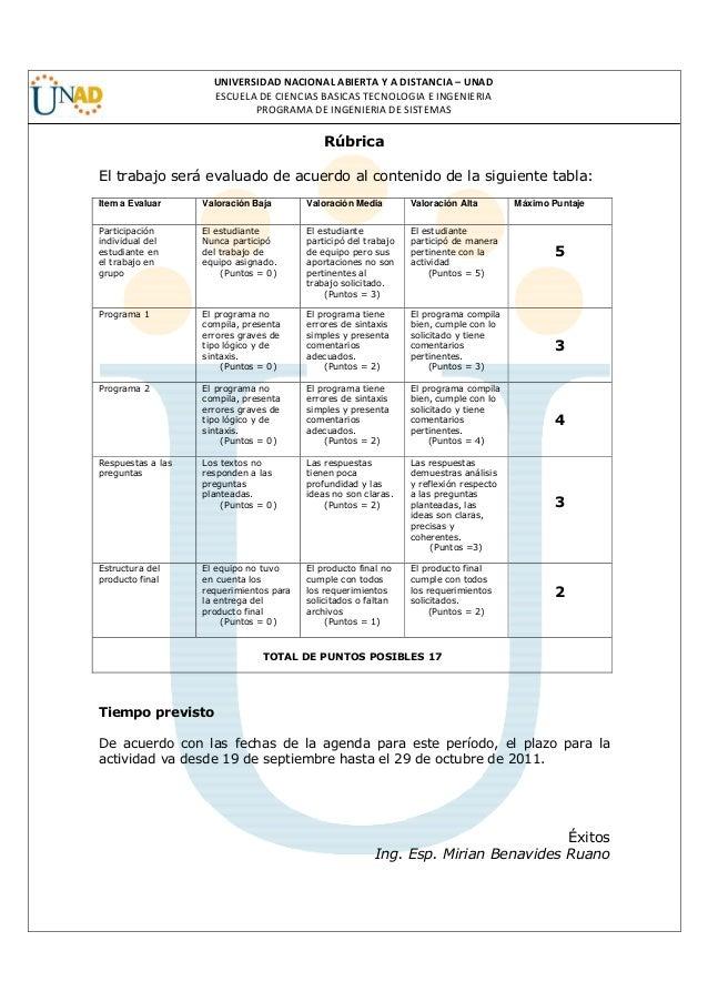 UNIVERSIDAD NACIONAL ABIERTA Y A DISTANCIA – UNAD ESCUELA DE CIENCIAS BASICAS TECNOLOGIA E INGENIERIA PROGRAMA DE INGENIER...