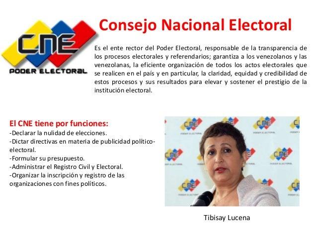 Consejo Nacional Electoral Es el ente rector del Poder Electoral, responsable de la transparencia de los procesos electora...