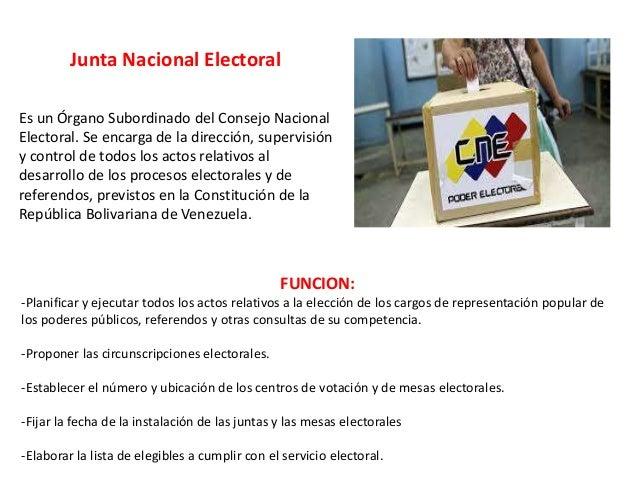 Junta Nacional Electoral Es un Órgano Subordinado del Consejo Nacional Electoral. Se encarga de la dirección, supervisión ...