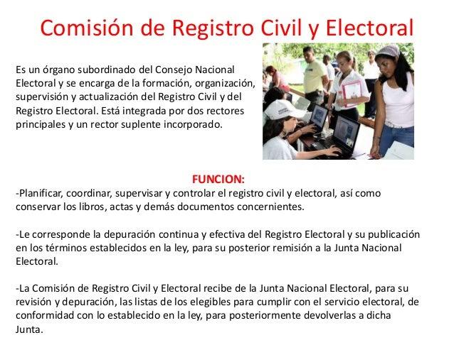 Comisión de Registro Civil y Electoral Es un órgano subordinado del Consejo Nacional Electoral y se encarga de la formació...
