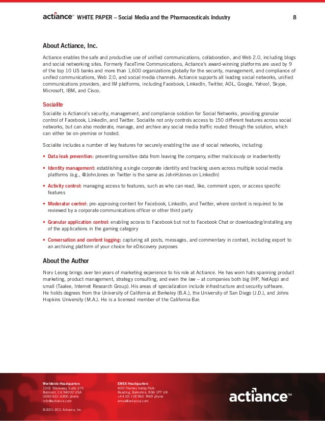 WHITE PAPER – Social Media and the Pharmaceuticals Industry                                        8About Actiance, Inc.Ac...