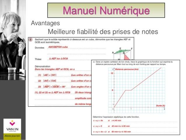 Accès rapide à une page du cahier Avantages Manuel Numérique
