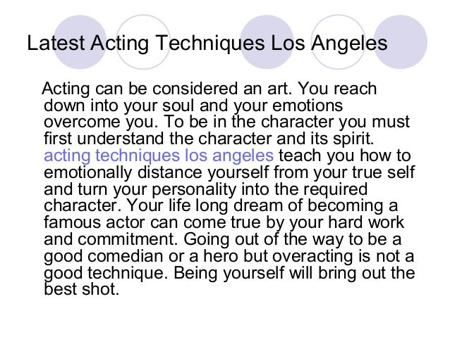 how to teach acting techniques