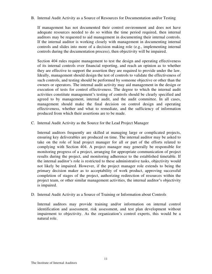 10the institute of internal auditors 11 b internal audit - Sox Process Documentation