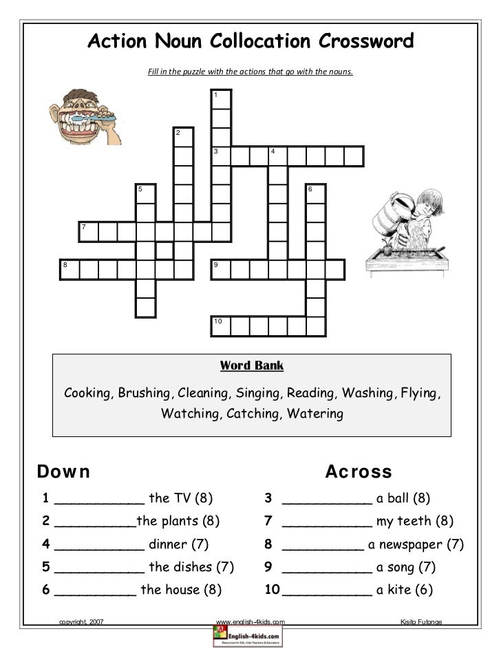 Action Noun Collocation Crossword                            Fill in the puzzle with the actions that go with the nouns.  ...