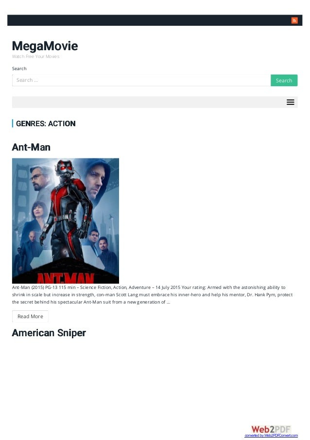  MegaMovie Watch Free Your Movies Search GENRES: ACTION Ant-Man Ant-Man (2015) PG-13 115 min – Science Fiction, Action, A...