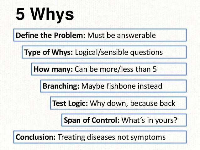 5 Whys Define the Problem: Must be answerable Type of Whys: Logical/sensible questions How many: Can be more/less than 5 B...