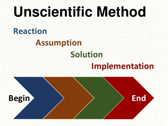 Unscientific Method Reaction Assumption Solution Implementation Begin End