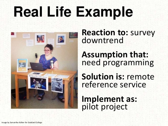 Reaction to: survey downtrend Assumption that: need programming Solution is: remote reference service Implement as: pilot ...