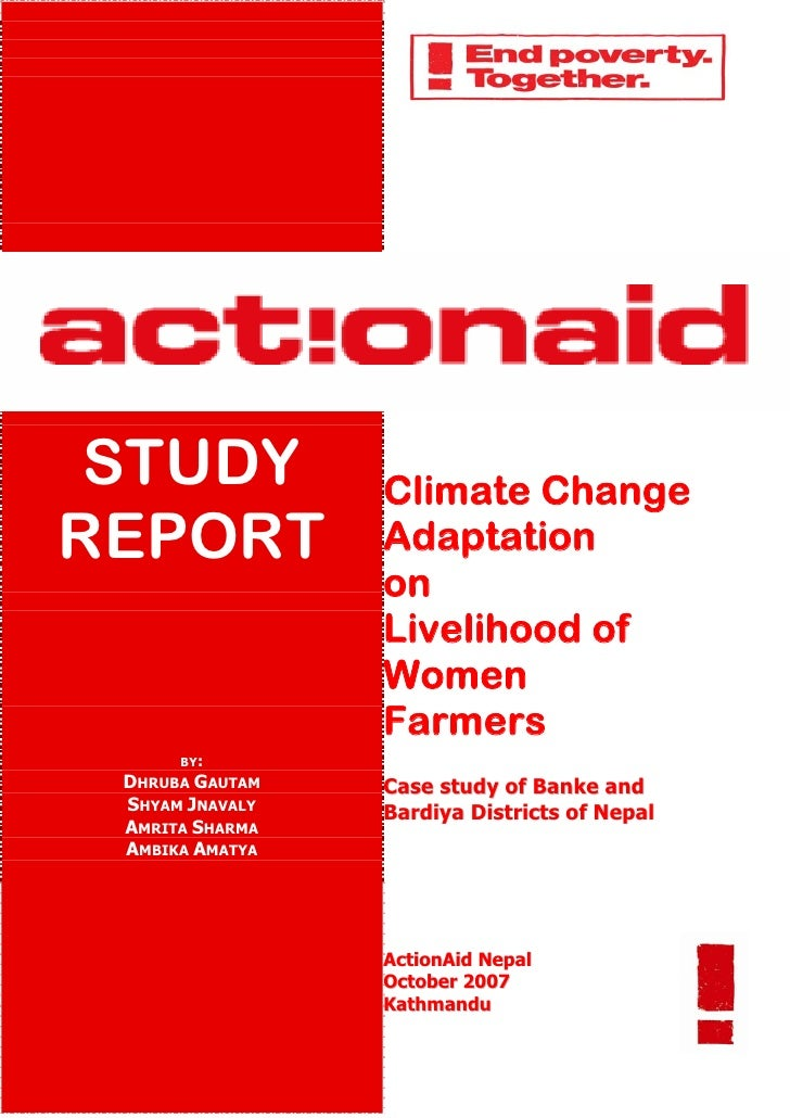STUDY           Climate Change REPORT           Adaptation                  on                  Livelihood of             ...