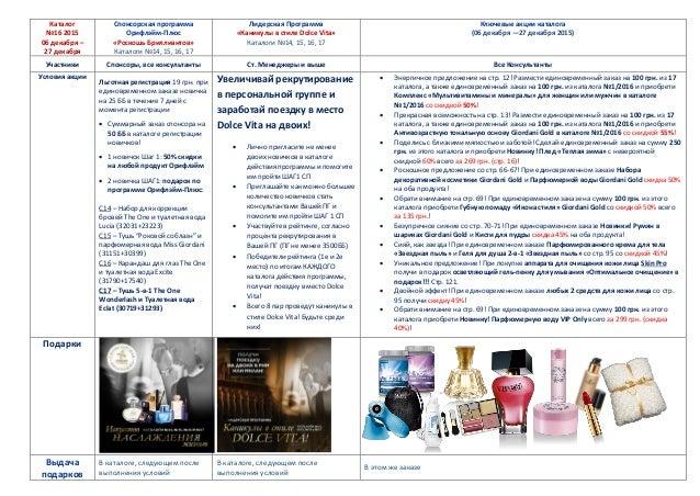 Каталог №16 2015 06 декабря – 27 декабря Спонсорская программа Орифлэйм-Плюс «Роскошь Бриллиантов» Каталоги №14, 15, 16, 1...