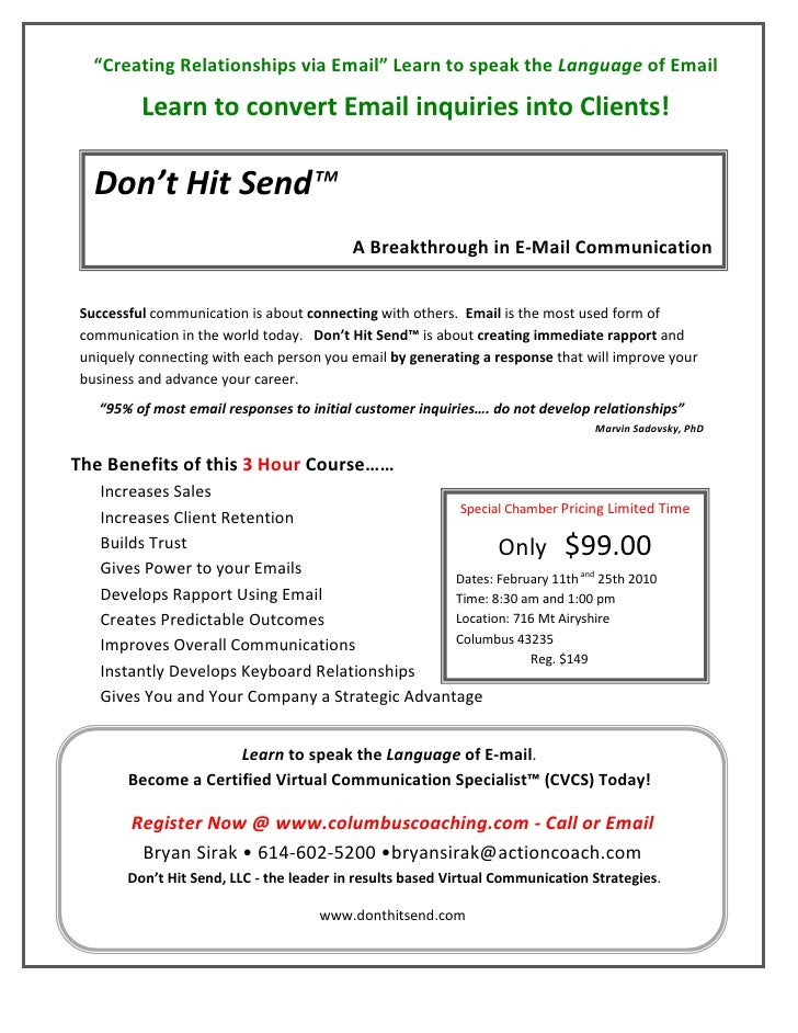 """Creating Relationships via Email"" Learn to speak the Language of Email           Learn to convert Email inquiries into Cl..."