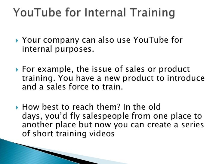 Some companies doesn't use YouTube for new business<br />This companies do so to support existing customers. <br />Conside...