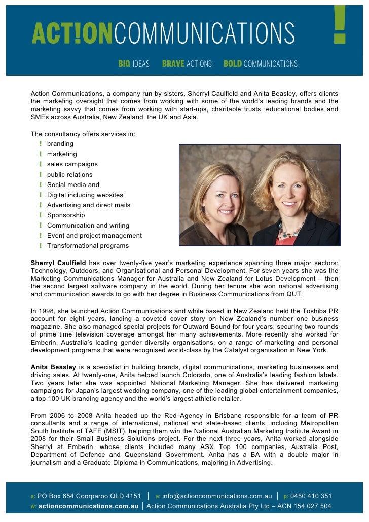 BIG IDEAS     BRAVE ACTIONS       BOLD COMMUNICATIONSAction Communications, a company run by sisters, Sherryl Caulfield an...