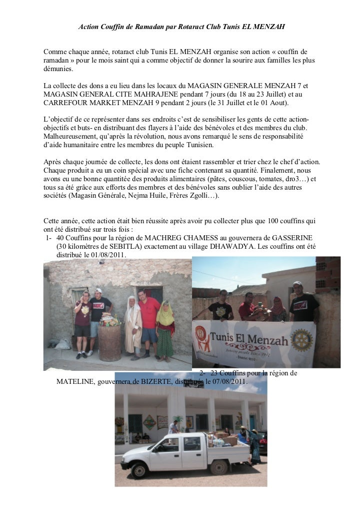 Action Couffin de Ramadan par Rotaract Club Tunis EL MENZAHComme chaque année, rotaract club Tunis EL MENZAH organise son ...