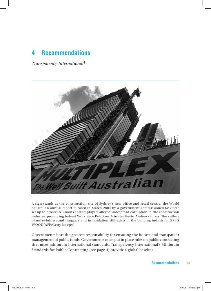 4     Recommendations                Transparency International1                    A sign stands at the construction site...