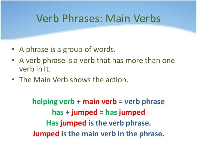 main verb helping verb