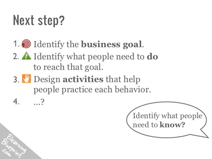 Next step?1.   Identify the business goal.2.   Identify what people need to do     to reach that goal.3.   Design activiti...