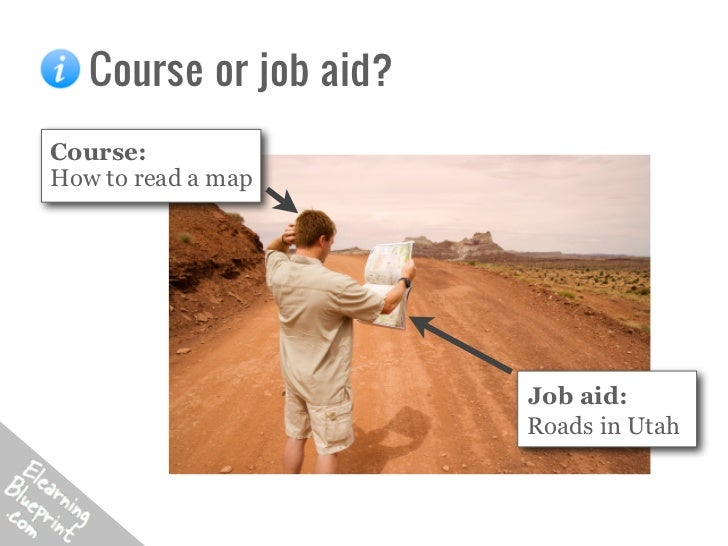 Course or job aid?Course:How to read a map                        Job aid:                        Roads in Utah
