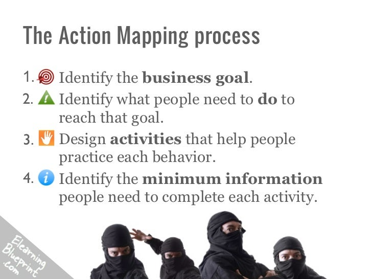 The Action Mapping process1.    Identify the business goal.2.    Identify what people need to do to      reach that goal.3...
