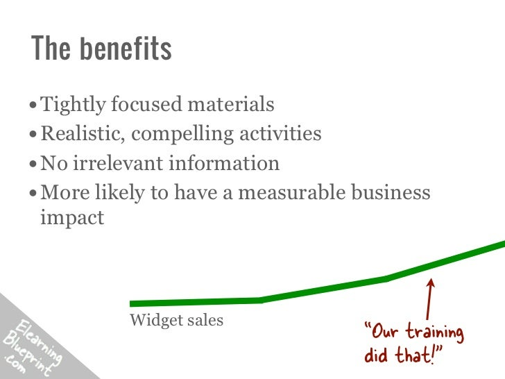 The benefits• Tightly focused materials• Realistic, compelling activities• No irrelevant information• More likely to have ...