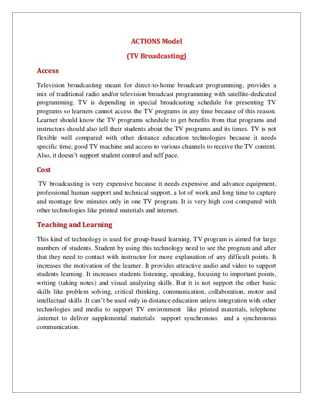 ACTIONS Model                                   (TV Broadcasting)AccessTelevision broadcasting meant for direct-to-home br...
