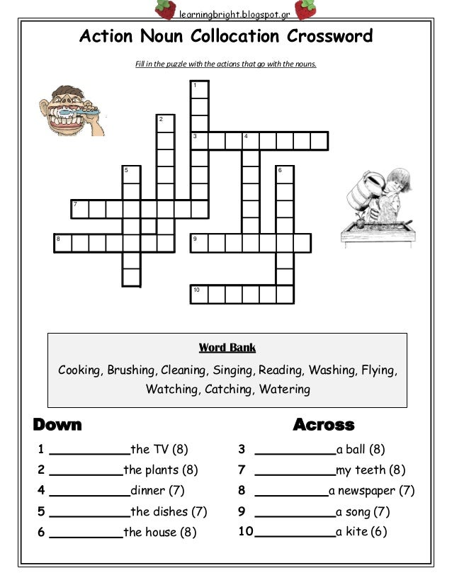 Action noun collocation crossword action noun collocation crossword fill in the puzzle with the actions that go with the nouns ccuart Image collections