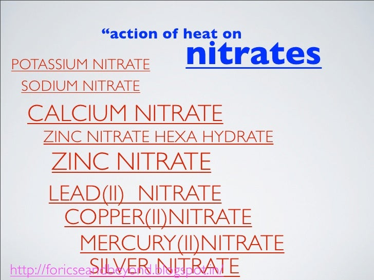 heating lead nitrate Lead nitrate on heating decomposes to lead monoxide, nitrogen dioxide and oxygen 2pb(no3)2 = 2pbo + 4no2 + o2 no2 is liberated, along with oxygen, as a reddish.