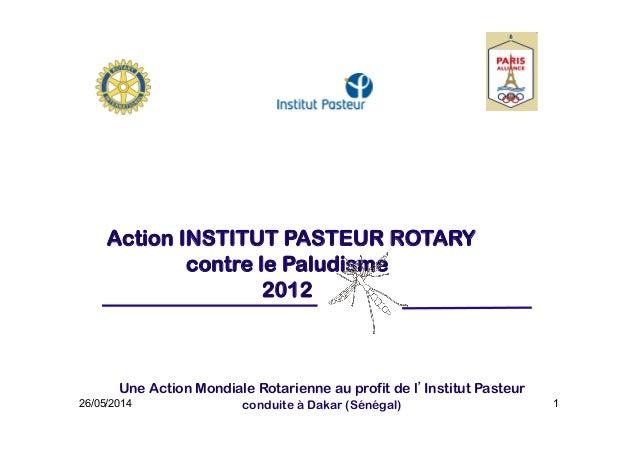 1 Action INSTITUT PASTEUR ROTARY contre le Paludisme 2012 Une Action Mondiale Rotarienne au profit de l'Institut Pasteur c...