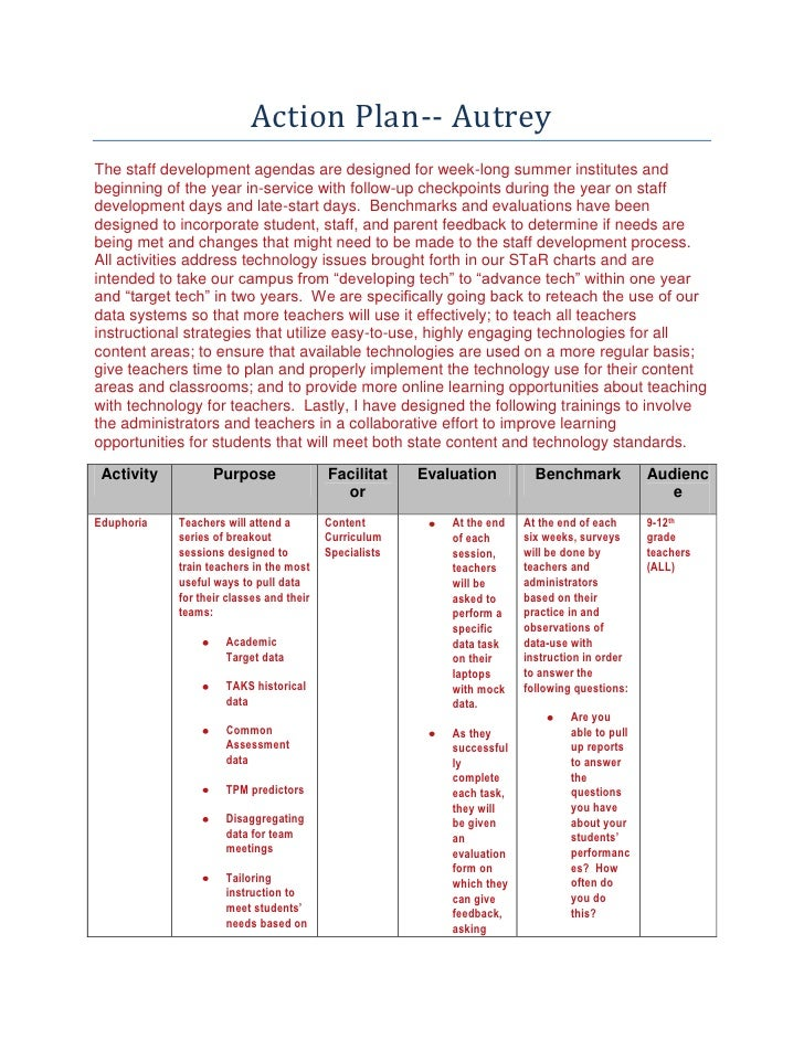 Action Plan-- Autrey<br />The staff development agendas are designed for week-long summer institutes and beginning of the ...
