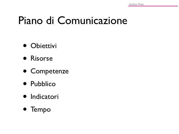 Piano di Comunicazione• Obiettivi• Risorse• Competenze• Pubblico• Indicatori• Tempo