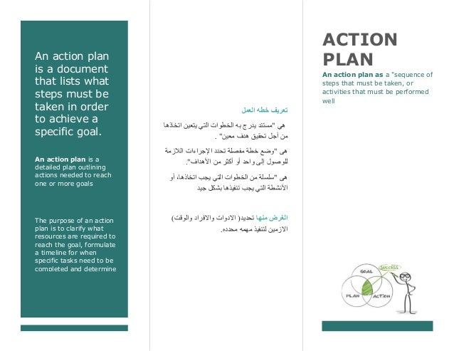An action plan is a document that lists what steps must be taken in order to achieve a specific goal. An action plan is a ...