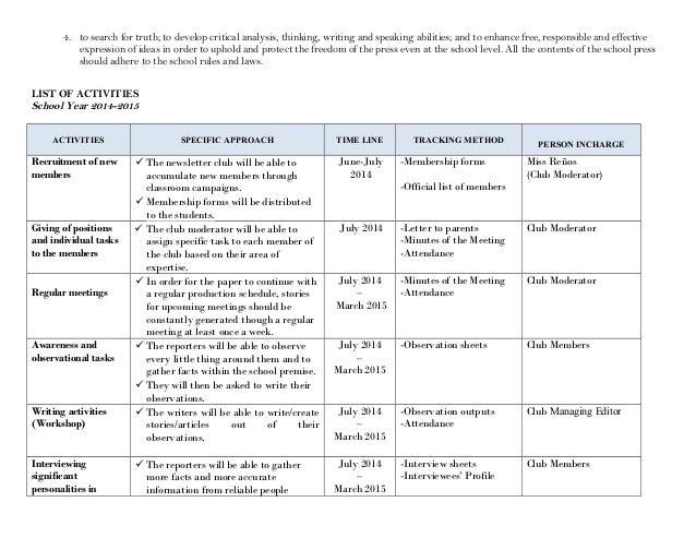 Action Plan 2014 2015 Newsletter