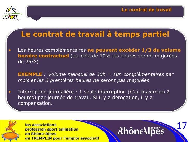 Le contrat de travail <ul><li>Le contrat de travail à temps partiel </li></ul><ul><ul><li>Les heures complémentaires  ne p...