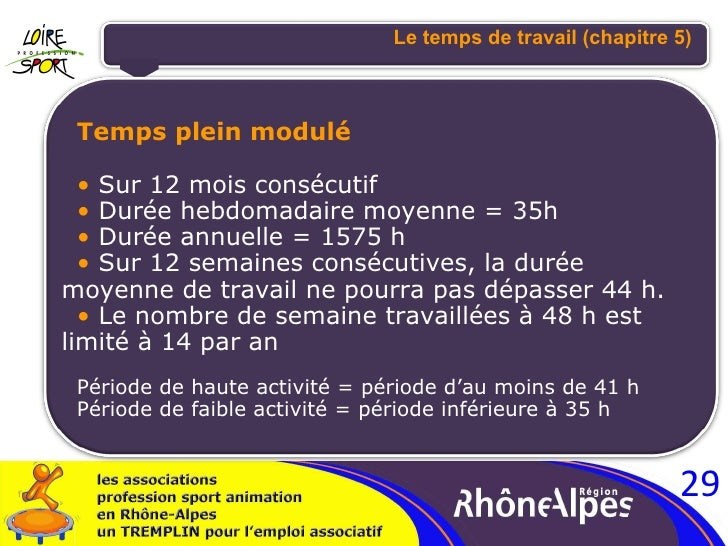 <ul><li>Temps plein modulé </li></ul><ul><li>Sur 12 mois consécutif </li></ul><ul><li>Durée hebdomadaire moyenne = 35h </l...