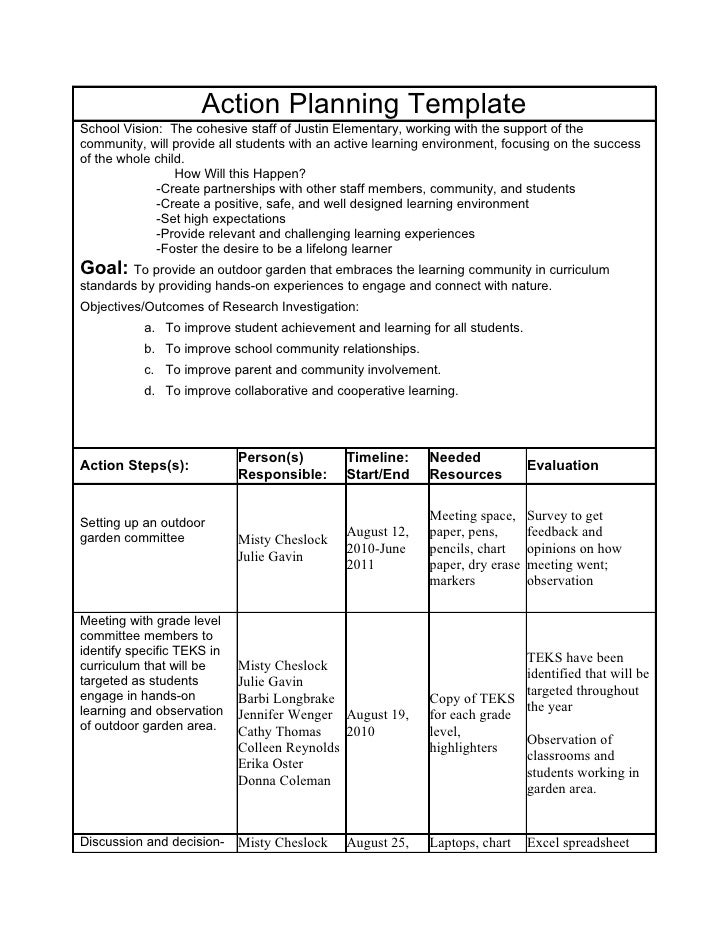 action plan for research proposal