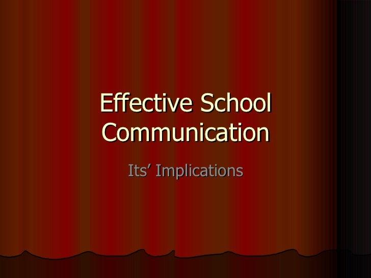 Effective School Communication Its' Implications