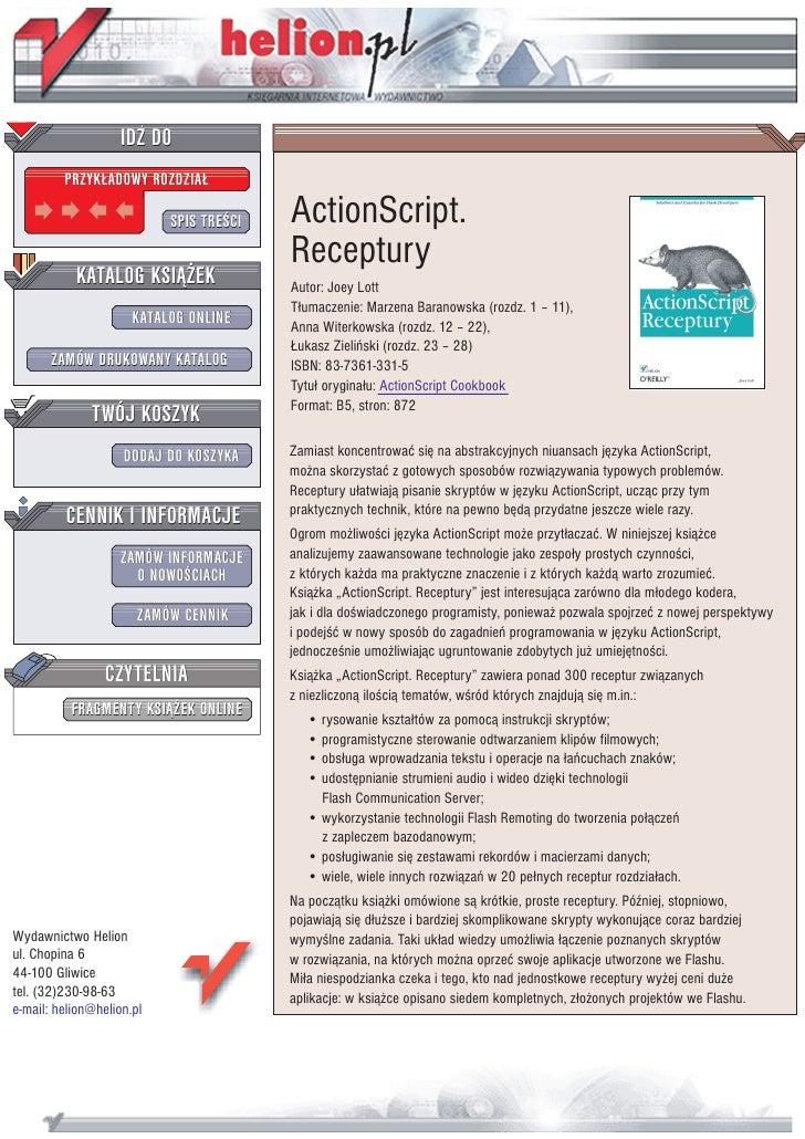 IDZ DO          PRZYK£ADOWY ROZDZIA£                             SPIS TRE CI   ActionScript.                              ...