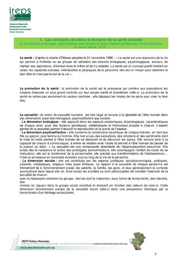 3 1. Les concepts clés dans le domaine de la santé sexuelle (in Vie affective et sexuelle : guide pratique pour la mise en...