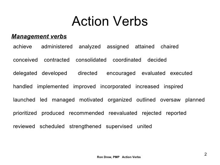 Action Verbs ...  Active Verbs List