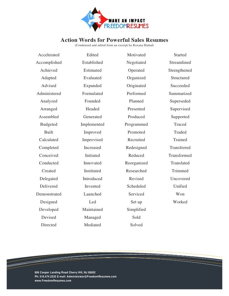 Action Words For Powerful Sales Resumes (Condensed And Edited From An  Excerpt ...  Action Verbs For Resume