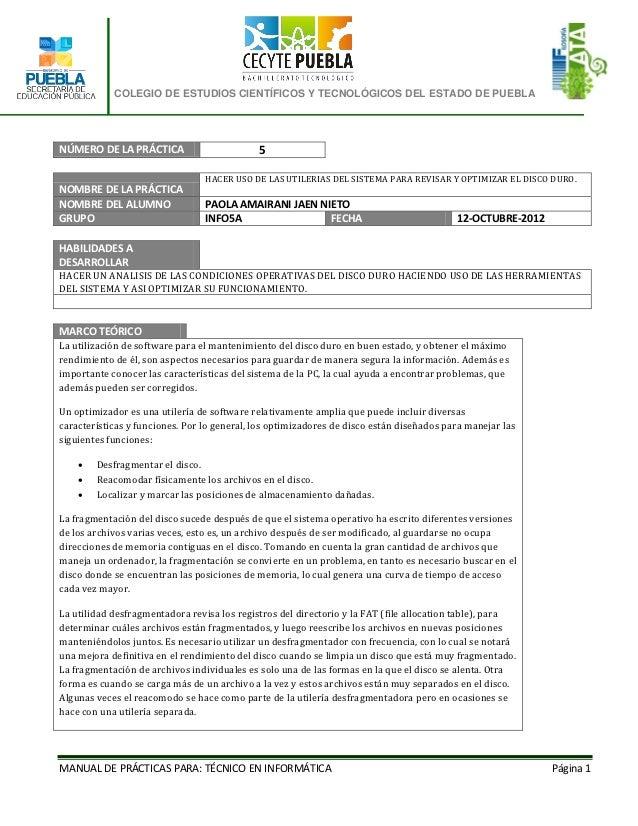 COLEGIO DE ESTUDIOS CIENTÍFICOS Y TECNOLÓGICOS DEL ESTADO DE PUEBLANÚMERO DE LA PRÁCTICA                        5         ...
