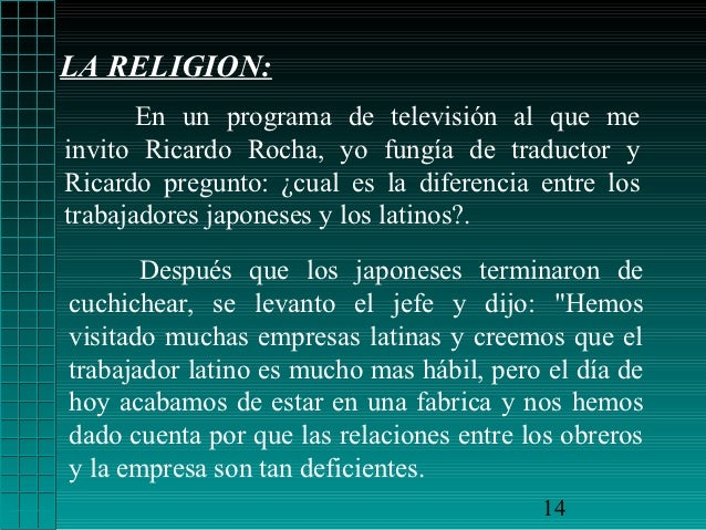 LA RELIGION:       En un programa de televisión al que meinvito Ricardo Rocha, yo fungía de traductor yRicardo pregunto: ¿...